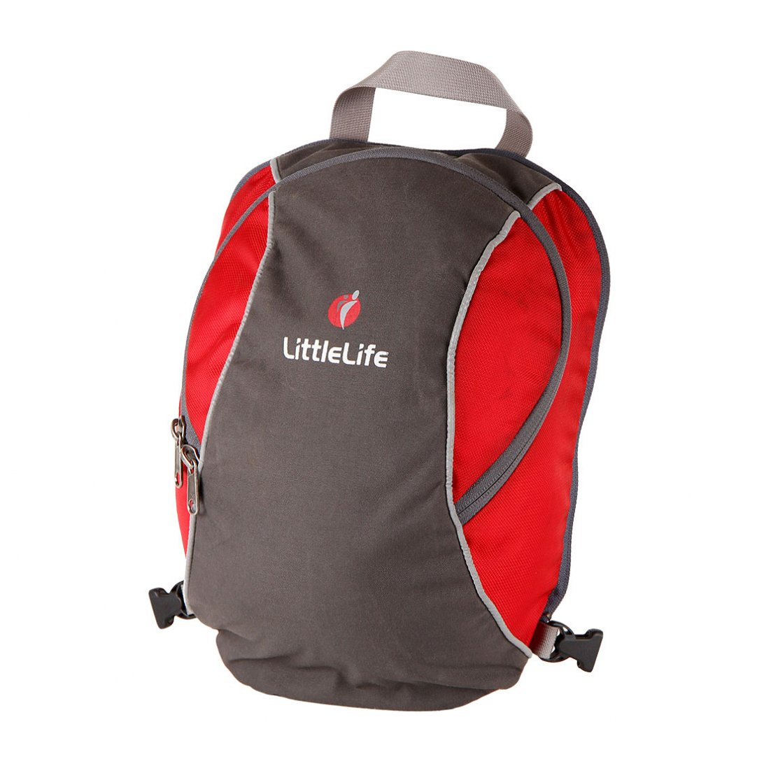 Grey and red child carrier backpack