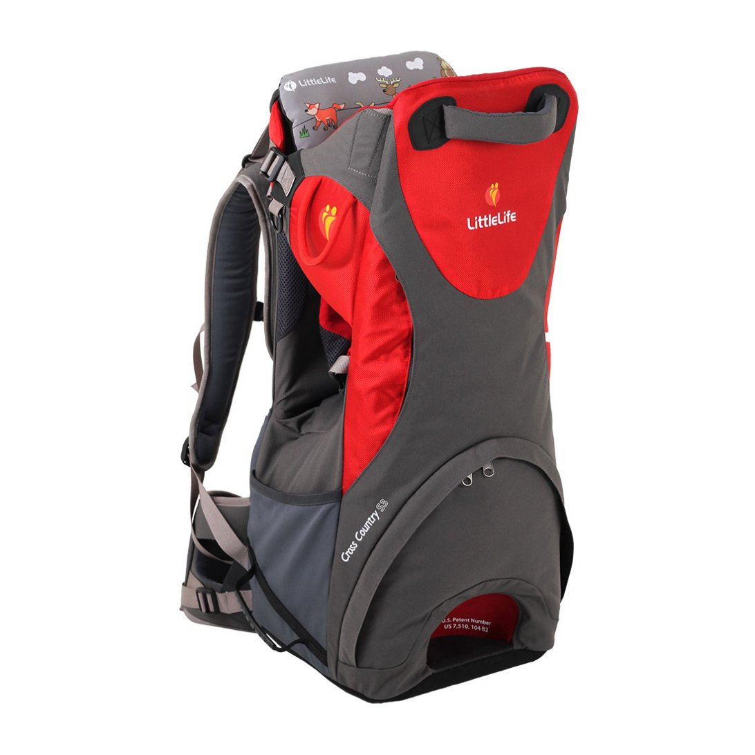 Red and grey baby back carrier