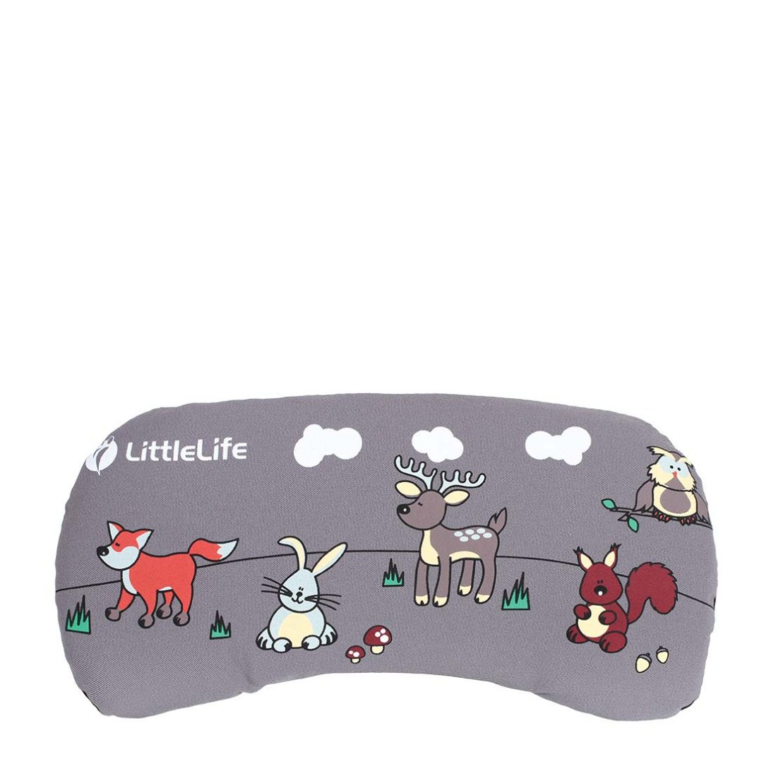 Grey child carrier face pad with animal design