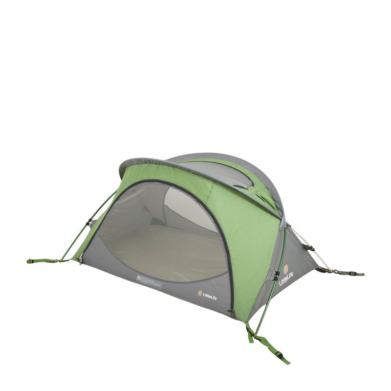 Green and grey lightweight travel cot