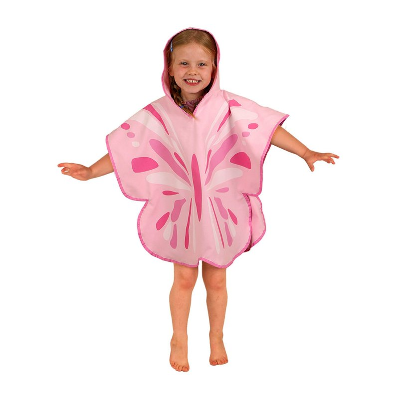 Pink butterfly poncho towel worn by girl