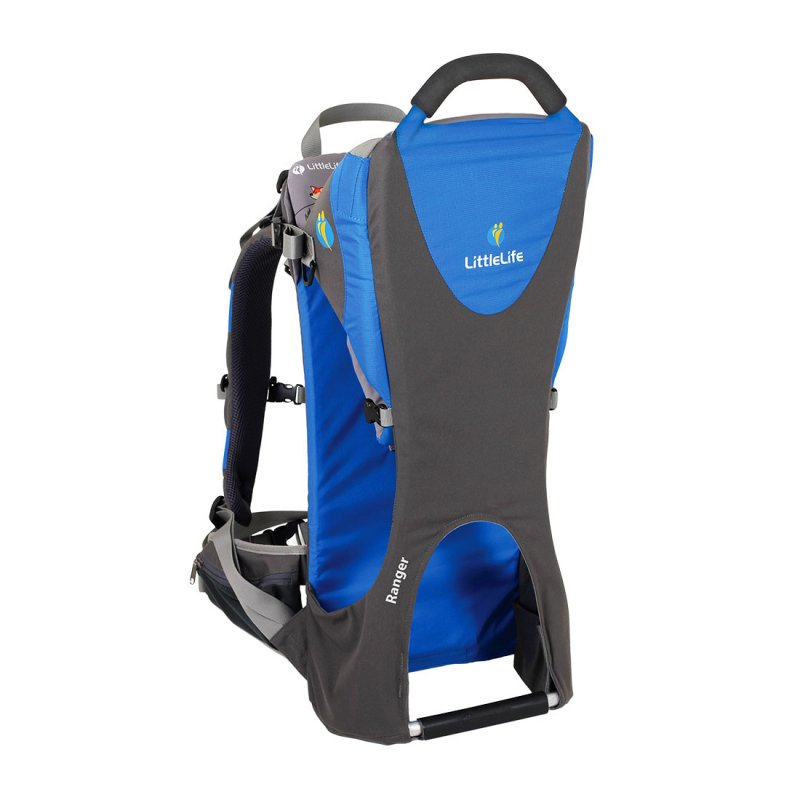 Blue and grey child back carrier front